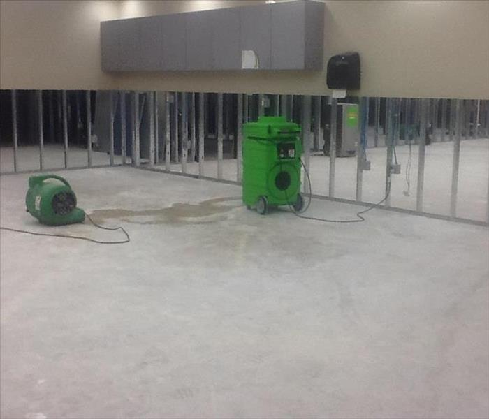 Flooded office space from hurricane Harvey After